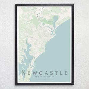 NEWCASTLE Map Print, Australia Wall Art Poster City Map Wall Decor A3 A2 A1