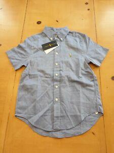 Ralph Lauren Designer Boy's Blue Summer Dress Shirt Size 7 - 8 Years - BNWT