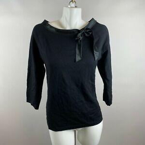 April Cornell Black Rosa Sweater Knit Ribbon Trim Boat Neck Size Medium Rayon