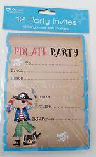 12 invitations Party Pirate Invite Cards birthday boy kids Skull Parrot Sword