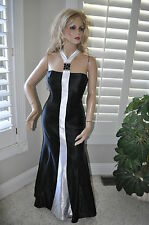 NWT Black & White Ball GOWN Halter McClintock Satin Prom wedding LACE UP BACK