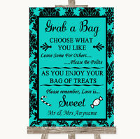 Turquoise Damask Grab A Bag Candy Buffet Cart Sweets Personalised Wedding Sign
