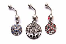 Tree of Life Dangle BELLY NAVEL Piercing Bar Ring Hippie Nature Plant Floral Hot