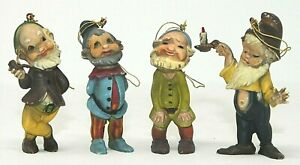 """VINTAGE Set of 4 Colorful Hard Plastic Gnome Ornaments, 2 1/2"""" Tall FAIRY GARDEN"""