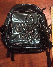Miss Me Metallic Green Backpack Faux Leather Fluer De Lis Multiple zipper 1510bc184c639