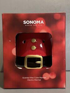 New Sonoma Scented Wax Cube Warmer Electric Warmer Santa Belly Belt NIB