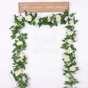 Weiß Künstliche Rosen Girlande Kunstblumen Efeugirlande Hängende Pflanzen 228cm!