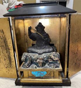 Antique Japanese Buddhist Samurai Deity God Shrine Zushi traveling box statue