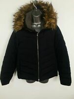 WOMENS GAP DOWN FEATHER NAVY BLUE ZIP UP PADDED PUFFER COAT FUR HOOD SIZE LARGE