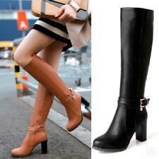 Vintage femme genou bottes Punk bloc talon bout rond chaussures mode sexy D