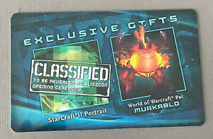 BLIZZARD BlizzCon 2011 WoW World of Warcraft MURKABLO Pet & Starcraft Loot Card