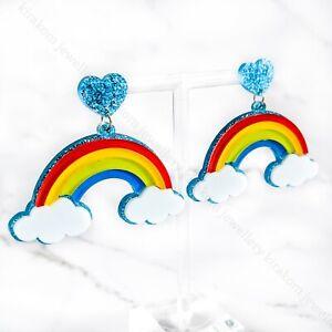 Blue Rainbow Cloud Glitter Heart Acrylic Statement Earrings Quirky Fun Summer