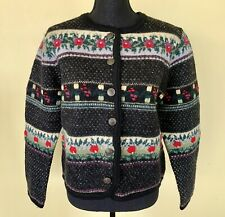 Vintage Tally Ho Button Front Wool Sweater Black/Multi Floral Nordic Print Sz PM