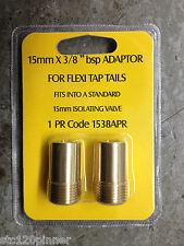 """1 Paio 15 mm x 3/8 """"BSP Adattatori per Flexi TAP code per isolante valvole ecc."""