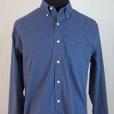 Eddie Bauer Men's Shirt Blue Check Cotton BTN Front XL/TG Long Sleeve BTN Collar