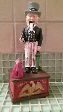 Vintage Uncle Sam Cast Iron Mechanical Coin Bank ~ *Collectible Works Well*