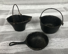 Vintage Dollhouse Cast Iron Skillet Pot And Pale Mini Cast Iron Marked 110