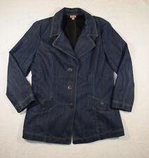 J.JILL Blue Denim Fitted Jean A-line Jacket Coat, Sz Large