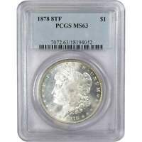 1878 8 Tail Feathers $1 Morgan Silver Dollar US Coin MS 63 PCGS