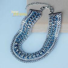 Collier Chaine Argenté Large Tissu Enlace Bleu Gris Fashion Class Artisannal QT2