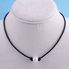 Women Elegant Pearl Pendant Necklace Leather Cord Choker Handmade Bib Chain Gift