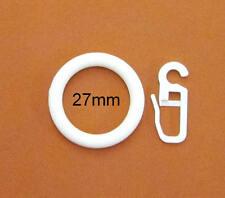 100 Gardinenringe weiß 27x38mm mit Gardinenhaken Faltenlegehaken Faltenhaken