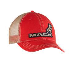 Mack Trucks Vintage Red Cap Tan mesh Snap Back 3D Logo Hat