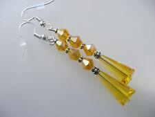 Vintage Art Deco Style Teardrop Glass & Crystal Long Earrings Prom Boho