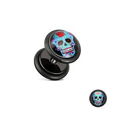 Fake Plug Flesh Tunnel Ear Piercing Motive Stainless Steel Stud Earrings Sugar Skull