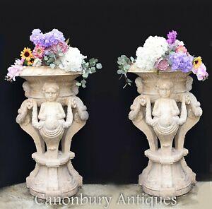 Pair Sienna Marble Cherub Urns - Garden Stone Statues