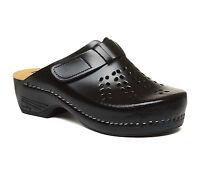 LEON PU161 Ladies Women Leather Slip On Mules Clogs Slippers Sandals, Black New