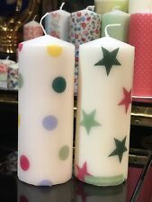 EMMA BRIDGEWATER Set Of 2 Hand Decor Pillar Candles POLKA DOT/ STARS 15x6cm
