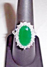 31 Ct.t.w. NATURAL RAW CUT EMERALD & WHITE TOPAZ 925 SILVER RING ~ SIZE 6.5