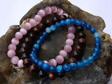 3 Gemstone Bracelets 8mm Red Tiger Eye, Pink Cats Eye, Blue Agate beads