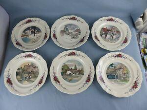 SARREGUEMINES Obernai Loux lot de 6 grandes assiettes plates différentes 25 cm D