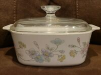 Vintage Corning Ware A-1 1/2-B 1.5 Liter Pastel Bouquet Casserole Glass Lid Dish