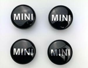 Set of 4 MINI ALLOY WHEEL CENTRE HUB CAPS BADGE BLACK 54mm COOPER ONE S (4pcs)