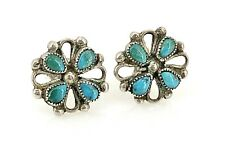 Vintage Filigree Sterling Silver & Turquoise Petite Decorative Post Earrings