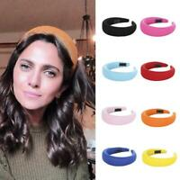 Women Girls Velvet Headband Padded Hairband Wide Hair Hoop Headpiece Accessories