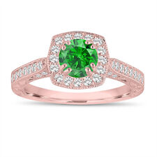 Enhanced Fancy Green Diamond Engagement Ring 1.20 Ct 14K Rose Gold Vintage Style