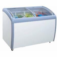 Atosa 12 cu ft Angle Curved Top Chest Freezer Glass Top, Deep Ice Cream Freezer