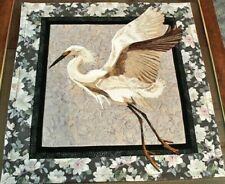 "Handmade * ""On The Wing"" Snowy Egret Waterbird * Applique Wall Hanging 27.5""x27"""