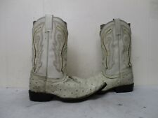 Artillero Cream Leather Ostrich Embossed Pointed Toe Cowboy Boots Size 23 Mexico