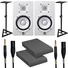Yamaha HS5 White Studio Monitor Pair w/ Stands Isolation Pads & Mogami Cables
