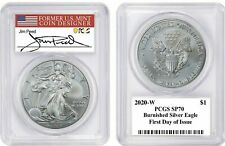 2020-W SP70 PCGS First Day Of Issue Burnished Silver Eagle Peed Signed!
