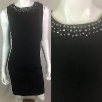 $138 Tahari Levine Studio Women's 14 Black Beaded Sleeveless Sheath Work Dress