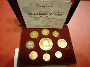 PROVA 2002 United Kingdom Pattern Euro Coin Collection INGHILTERRA In Cofanetto