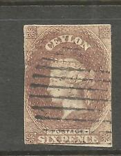 CEYLON 1857  6d  QV  IMPERF FU   SG 6