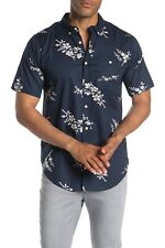 EZEKIEL Men's S/S Woven Button-Up Shirt POSY - Navy - Large - NWT