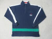 VINTAGE Nautica Sweater Adult Medium Blue Green Spell Out Logo Pullover Men 90s*